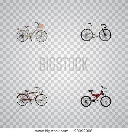 Realistic Road Velocity, Journey Bike, Adolescent And Other Vector Elements. Set Of Bicycle Realistic Symbols Also Includes Bike, Cruise, Brand Objects.