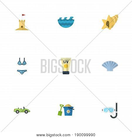Flat Icons Shovel, Conch, Shell And Other Vector Elements. Set Of Summer Flat Icons Symbols Also Includes Aqualung, Sea, Cream Objects.