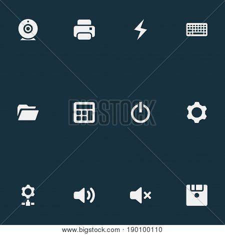 Vector Illustration Set Of Simple Device Icons. Elements Knob, Calculator, Floppy Disk And Other Synonyms Sound, Keypad And Broadcast.