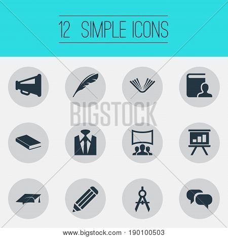 Vector Illustration Set Of Simple Speaker Icons. Elements Architect Drafting, Drawing, Graduation Cap And Other Synonyms Mortar, Businessman And Pen.