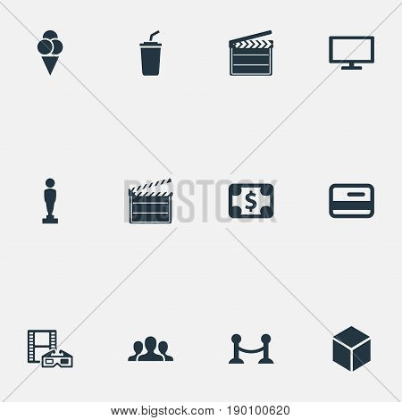 Vector Illustration Set Of Simple Film Icons. Elements Oscar, Soda, Plasma Monitor And Other Synonyms Production, Soda And Plasma.