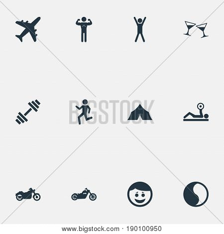 Vector Illustration Set Of Simple Yoga Icons. Elements Ballance, Camping, Powerlifting And Other Synonyms Motorbike, Alcohol And Happy.
