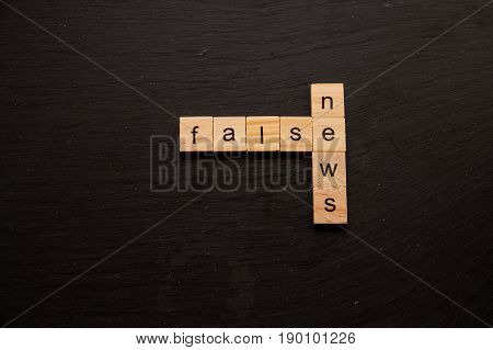 Toy letter blocks showing False and News like a crossword
