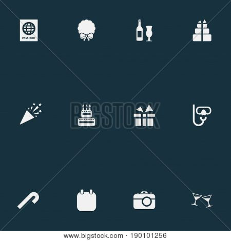 Vector Illustration Set Of Simple Holiday Icons. Elements Calendar, Striped Candy, Travel Document Synonyms Camera, Candle And International.