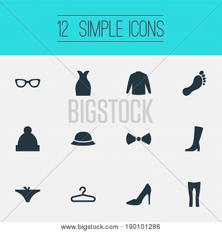 Vector Illustration Set Of Simple Garments Icons. Elements Ski Hat, Hat, Rack And Other Synonyms Leggings, Tuxedo And Boots.