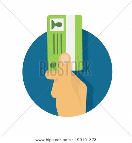 Hand holding id card, car driving licence.Vector stock.