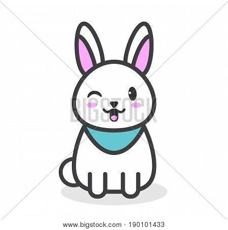 Cute and tender rabbit. White rabbit kawaii. Cartoon style. Vector stock.