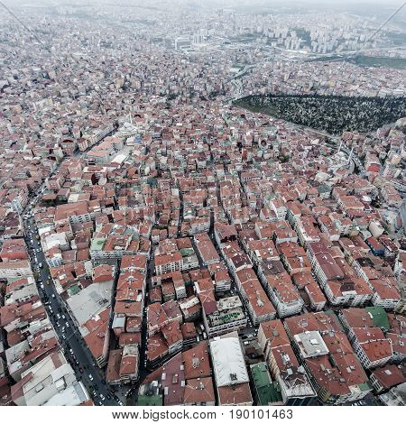Istanbul aerial view. Panorama of modern part of the city.