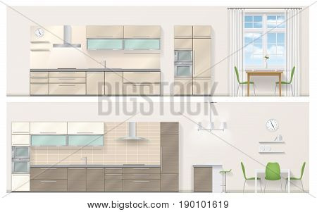 Set of kitchen furniture in a realistic 3D style. Detailed vector illustration. Orthographic view.