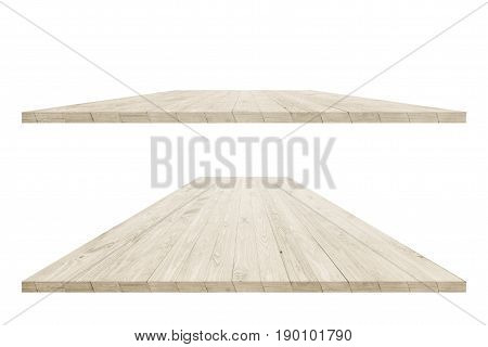 Rustic wooden table vintage style with clipping path in perspective view for product placement or montage with focus to table. Wooden board surface.