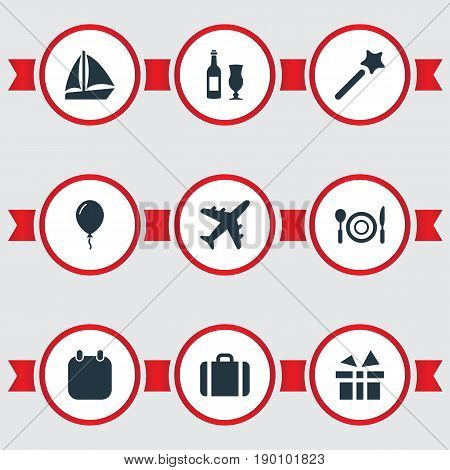 Vector Illustration Set Of Simple Festal Icons. Elements Airplane, Calendar, Surprise And Other Synonyms Ship, Dinner And Holiday.