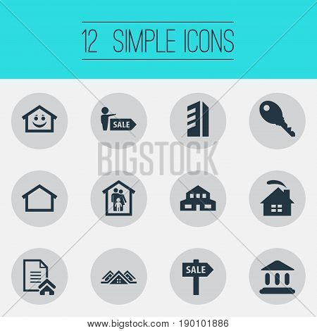 Vector Illustration Set Of Simple Property Icons. Elements Agent, Promotion, Lock And Other Synonyms Happy, Property And Rental.