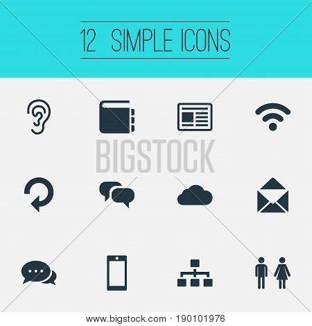 Vector Illustration Set Of Simple Network Icons. Elements Web Cloud, Press, Wireless Access And Other Synonyms Mail, Address And Newspaper.