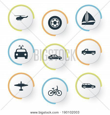Vector Illustration Set Of Simple Transportation Icons. Elements Aerocab, Yacht, Aero And Other Synonyms Tire, Car And Airplane.