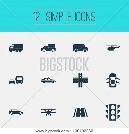 Vector Illustration Set Of Simple Transport Icons. Elements Aerocab, Semaphore, Carriage And Other Synonyms Car, Intersection And Cab.
