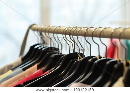 Clothing shop. Clothes on the hangers