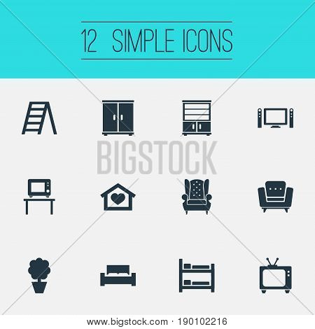 Vector Illustration Set Of Simple Furniture Icons. Elements Bunk Bed, Vintage Accessory, Plant And Other Synonyms Tv, Ladder And Cot.