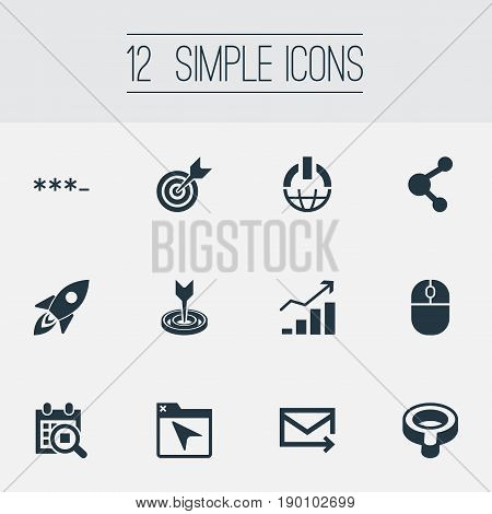 Vector Illustration Set Of Simple Optimization Icons. Elements Bookmark, Search, Target And Other Synonyms Share, Target And Missile.