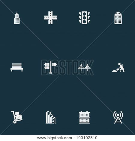Vector Illustration Set Of Simple City Icons. Elements Digging Worker, Signal Transmitter, Semaphore And Other Synonyms Rope, Crossroad And Manufacture.