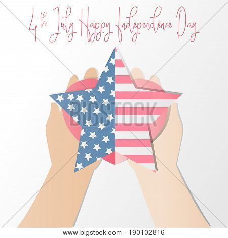 4th of july American independence day badge with hand holding heart and American flag in the framework of starsVector illustration.