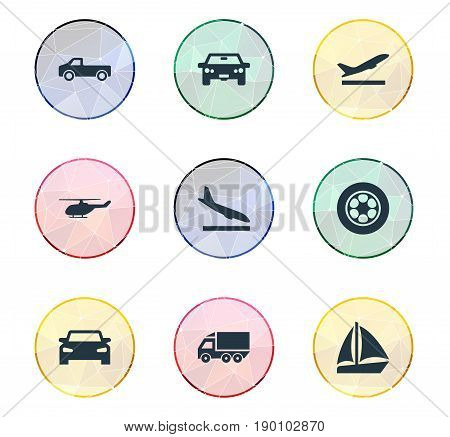 Vector Illustration Set Of Simple Shipment Icons. Elements Aerocab, Yacht, Auto And Other Synonyms Departure, Yacht And Ship.