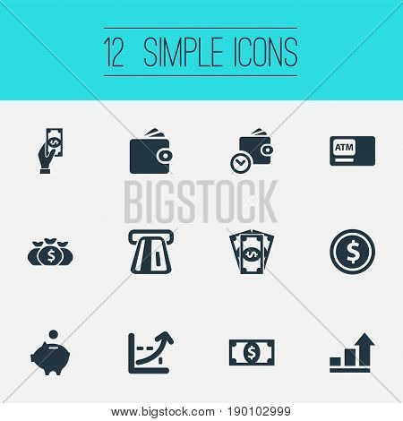 Vector Illustration Set Of Simple Banking Icons. Elements Atm, Growth, Terminal And Other Synonyms Salary, Atm And Cashpoint.