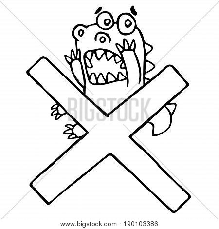 Cartoon funky dragon and big cross mark. Vector illustration. Funny cute imaginary character on isolated background.
