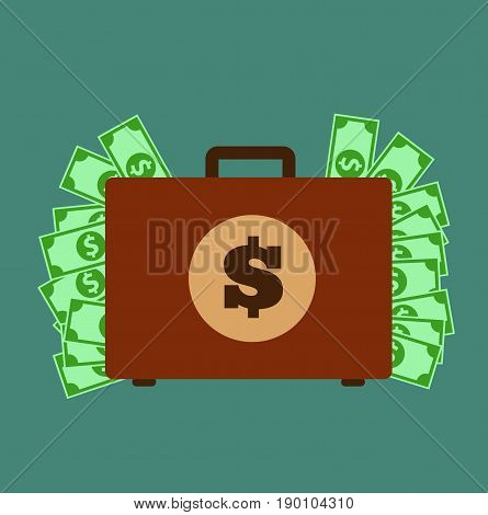 Money Suitcase. Suitcase with money concept. Vector stock.