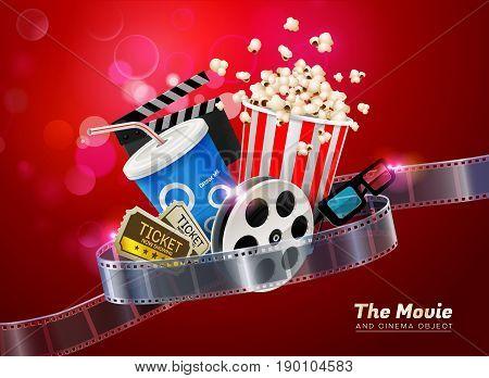 cinema movie theater object on sparkling light background vector illustration