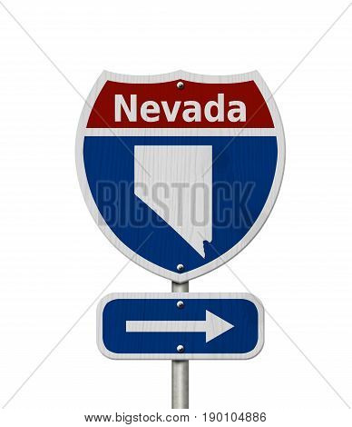 Road trip to Nevada Red white and blue interstate highway road sign with word Nevada and map of Nevada isolated over white 3D Illustration
