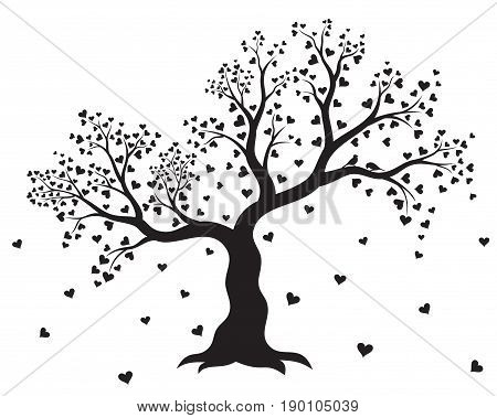 Vector illustration of decorative, abstract tree with hearts and couple of birds in black color on white background. Wall sticker.