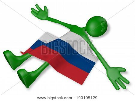 dead cartoon guy and flag of russia - 3d illustration