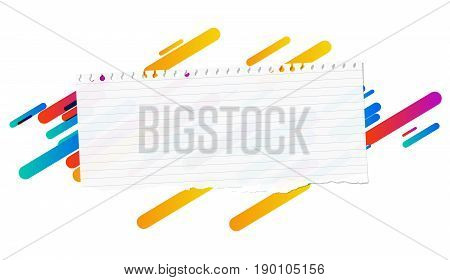 Ripped ruled note, notebook, copybook paper strip stuck on lined colorful background