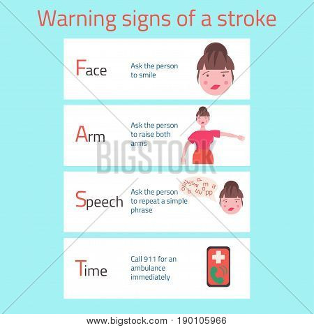 Warning signs of brain stroke, disease infographic. Vector illustration.