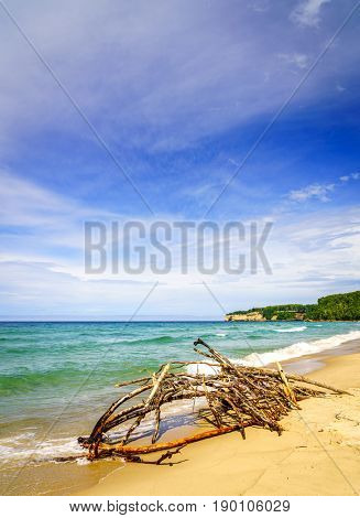 Scenic view of Sand Point Beach at Pictured Rocks national Lakeshore, Michigan