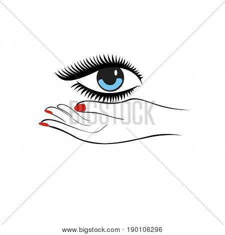 Female hand hold eye. Fashion concept. Eye protection or eye doctor concept. Vector Illustration