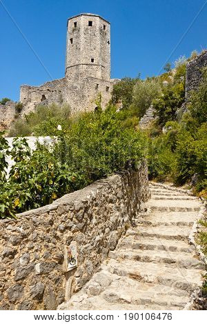 Path to old fortification in Pocitelj Bosnia and Herzegovina Balkans.
