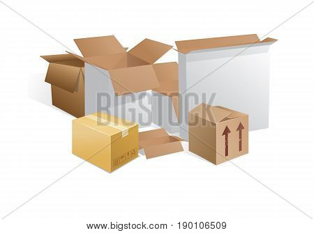 boxes whitish gray and brownish gray akryti half open and half open and closed with shadows on a white background