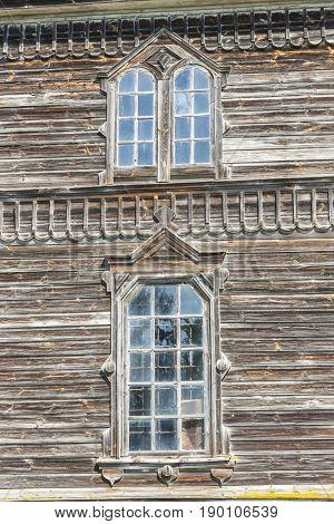 Two old window. Detail of orthodoxy church in Pobirka near Uman - Ukraine Europe.