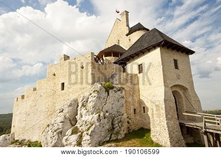 Jura region view on Bobolice castle - Polnad Silesia.