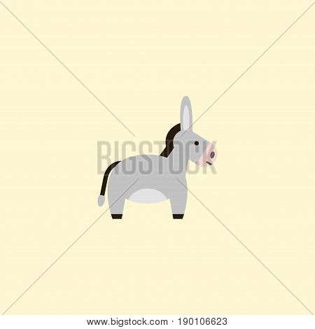 Flat Icon Donkey Element. Vector Illustration Of Flat Icon Jackass Isolated On Clean Background. Can Be Used As Donkey, Jackass And Horse Symbols.