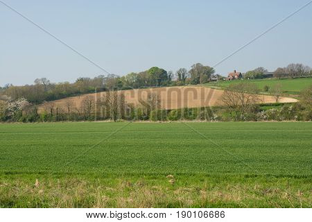 Countryside and farmland on the South Downs in the River Adur Valley near Shoreham West Sussex England. In Springtime.