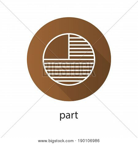 Circle diagram with missing part. Flat linear long shadow icon. Portion abstract metaphor. Vector line symbol