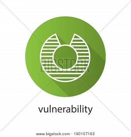 Vulnerability flat linear long shadow icon. Abstract metaphor. Vector line symbol