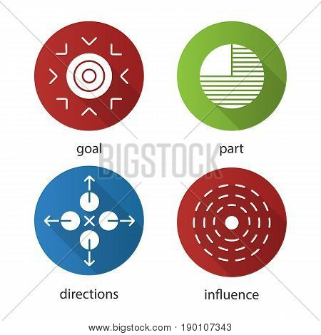 Abstract metaphors flat design long shadow icons set. Goal, part, directions, influence. Vector silhouette illustration