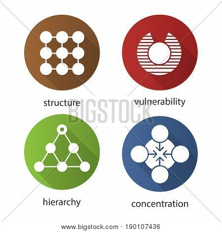 Abstract symbols flat design long shadow icons set. Structure, vulnerability, hierarchy, concentration concepts. Vector silhouette illustration