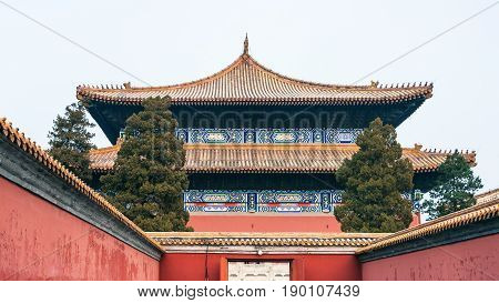 Gate To Imperial Ancestral Temple In Beijing City