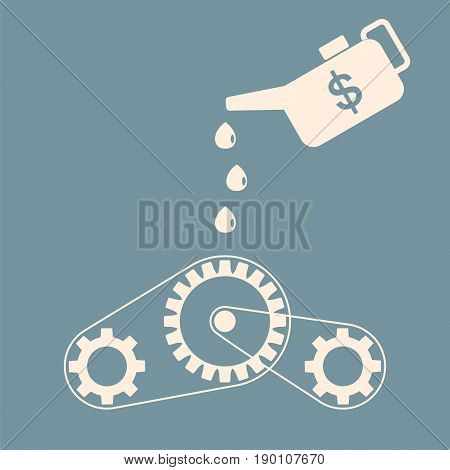 Investment concept. Machinery maintenance. Oiler lubrication mechanism. Vector illustration.