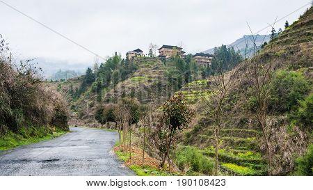 Wet Road And View Of Dazhai Village