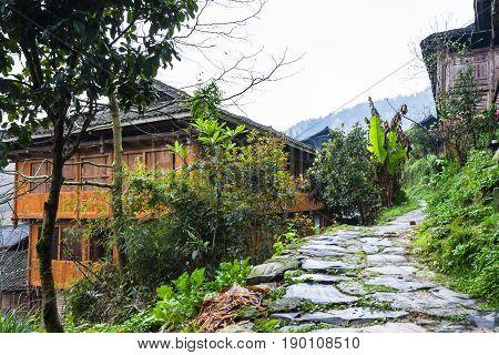 Wet Patway In Hill Of Dazhai Village